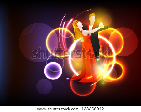 Dance party background with couple dancing on shiny background. - stock vector