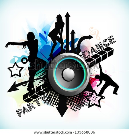 Dance party background with silhouette of dancing peoples and loud speakers background. - stock vector