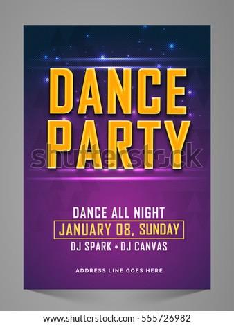 Dance Party Flyer Banner Invitation Pamphlet Stock Vector 555726982