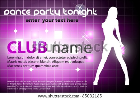dance party invitation card - stock vector