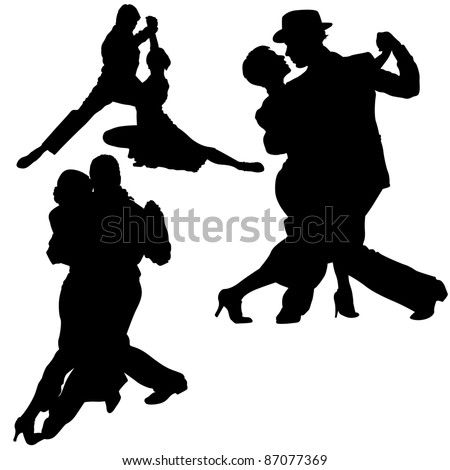 Dance Silhouettes - black illustrations and classic dance, vector - stock vector