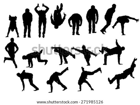 Dancer boy in rap style on white background - stock vector