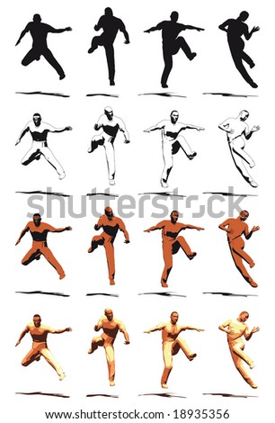 Dancer Jump silhouette various poses - VECTOR - stock vector