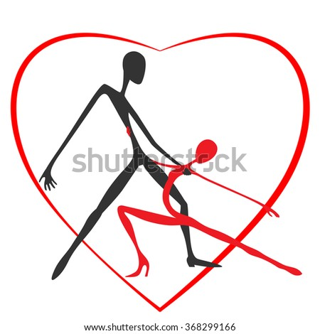 Dancer on the background of the heart. Dance of love. St. Valentine's Day. Cartoon. Flat. Stylization. Avant-gardism. - stock vector