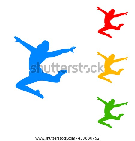 Dancer sign illustration. Colorful set of icon - blue, red, yellow, green. - stock vector