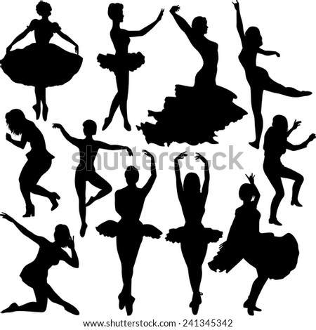 Dancer Silhouettes - stock vector