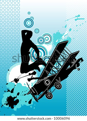 Dancer with airplane. Grunge vector illustration. - stock vector