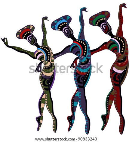 dancers in ethnic style dance a beautiful dance - stock vector