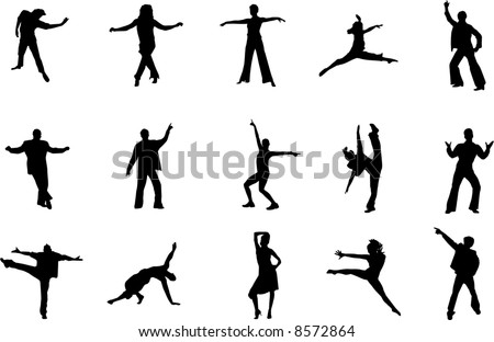 dancers silhouettes - stock vector