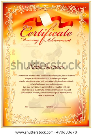 Dancing achievement certificate template vintage frame stock dancing achievement certificate template vintage frame border gradient colorful background with dancing figures in pronofoot35fo Choice Image