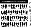 dancing and singing people's silhouette isolated on white background - stock photo