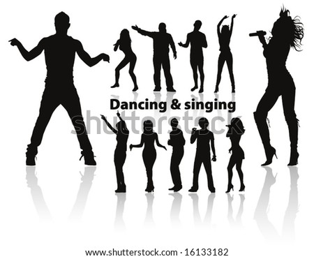dancing and singing people's silhouette p. 1