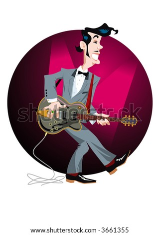 Dancing and singing rockabilly star with electric guitar. Vector EPS-File.