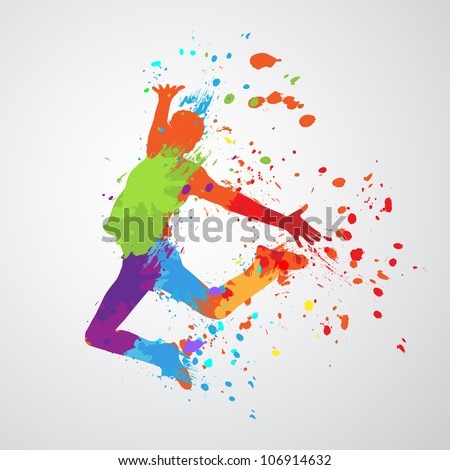 dancing boy with colorful spots and splashes on grey background. Vector illustration. - stock vector