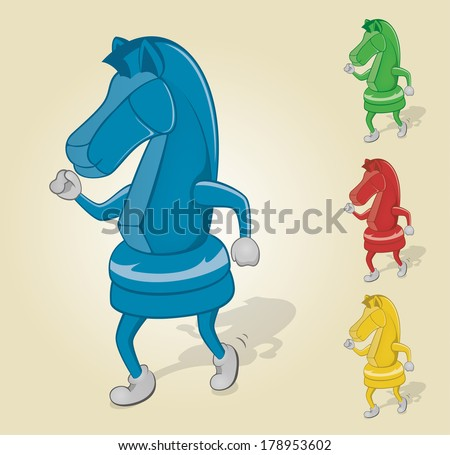 Dancing Chess Knight - stock vector
