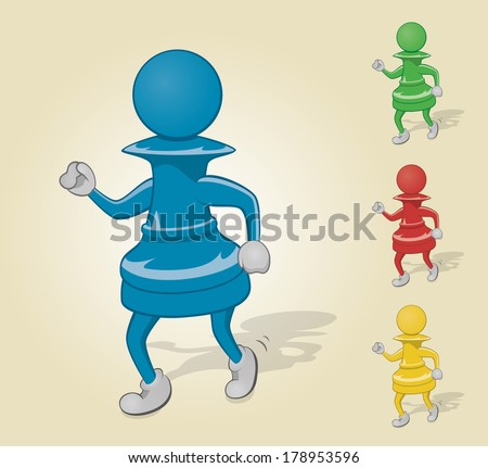 Dancing Chess Pawn - stock vector
