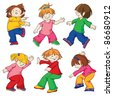 Dancing children. All details of the image are executed separately and grouped. - stock vector