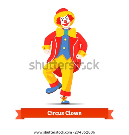Dancing circus clown vector illustration isolated on white background. - stock vector