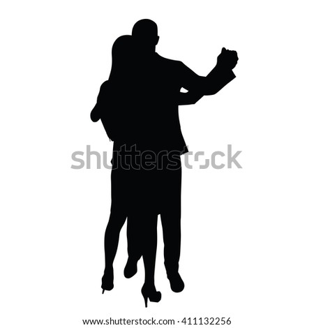 Dancing couple. A man in a suit and a woman in a skirt and shoes on high heels. Vector silhouette. Two young people love, romance, dancing. Social life. - stock vector