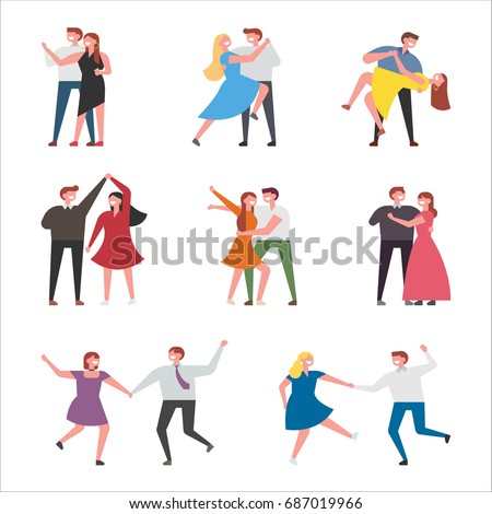 dancing couple character vector illustration flat design
