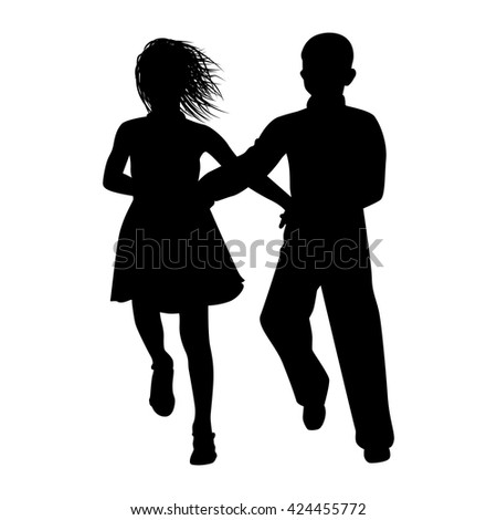 dancing couple silhouette on white background vector