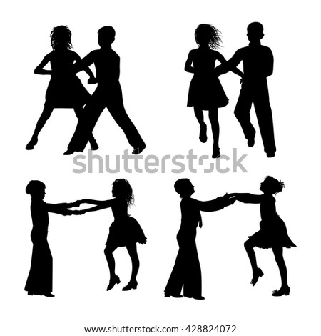 dancing couple silhouette on white background vector - stock vector