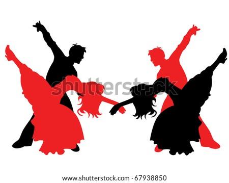 Dancing couples - stock vector