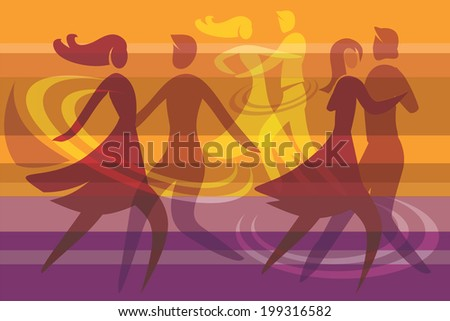 Dancing couples colorful background.  Colorful background with three dancing couples, Vector illustration.  - stock vector