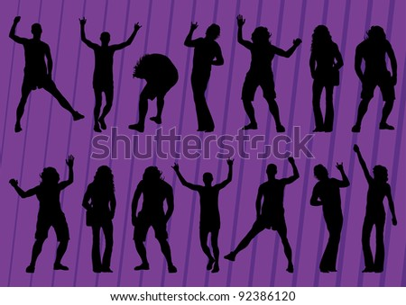 Dancing crowd of people silhouettes illustration collection background vector - stock vector