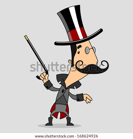 dancing gentleman in top hat and cane - stock vector