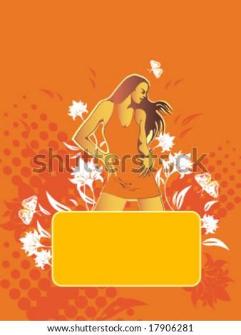 Dancing girl, empty tablet - stock vector