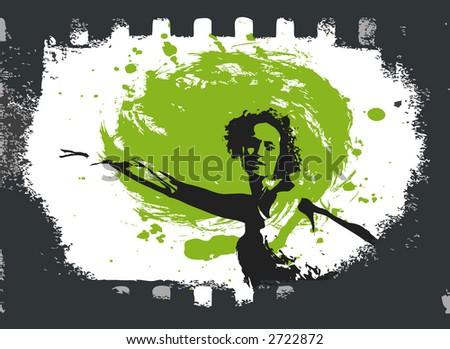dancing girl in a film - stock vector