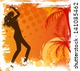 Dancing girl on orange grunge background with palm trees - stock photo