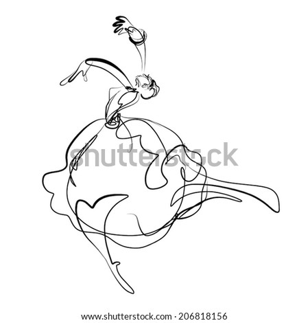 dancing girl,vector illustration - stock vector