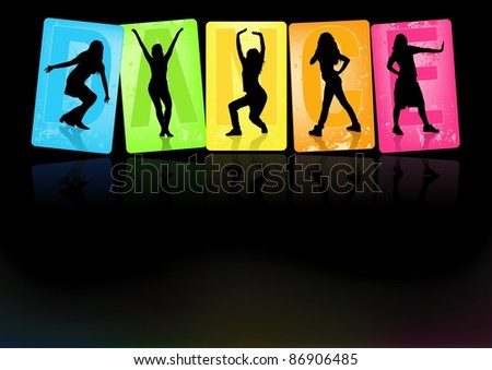 Dancing Girls - Background illustration, Vector