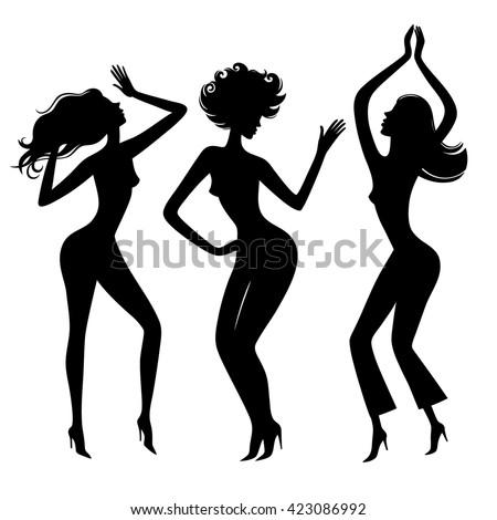 dancing girls dance partysilhouette