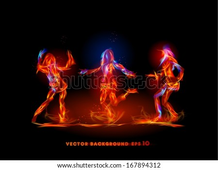 Dancing girls made of fire  - stock vector