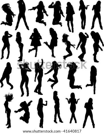 dancing girls silhouette vector file - stock vector