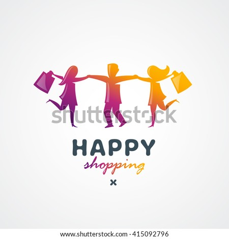 Dancing Happy Consumers with Shopping Bags. Original Memorable Illustrative Graphic Symbol For Your Business. Sign For Shop, Store, Advertising Sale Banners etc.  - stock vector