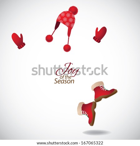 Dancing hat, mittens and boots. EPS 10 vector, grouped for easy editing. No open shapes or paths. - stock vector