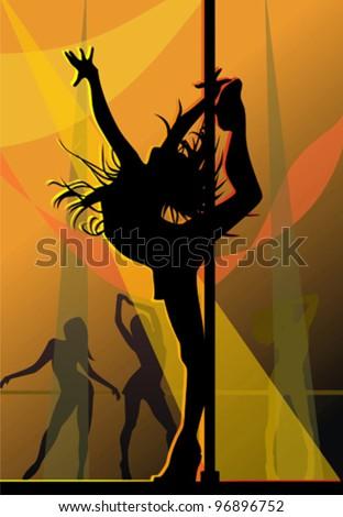 Dancing in rays of light - stock vector