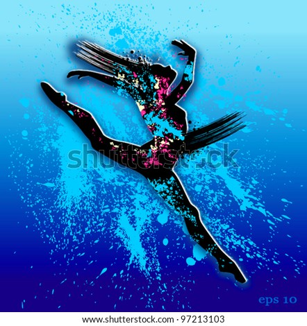 Dancing in water splashes. Vector illustration - stock vector