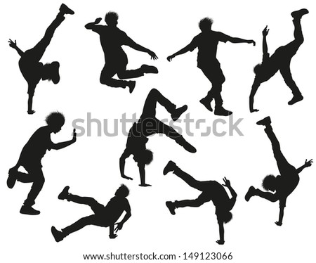 Dancing male silhouettes on white