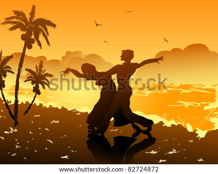 dancing on the beach - stock vector