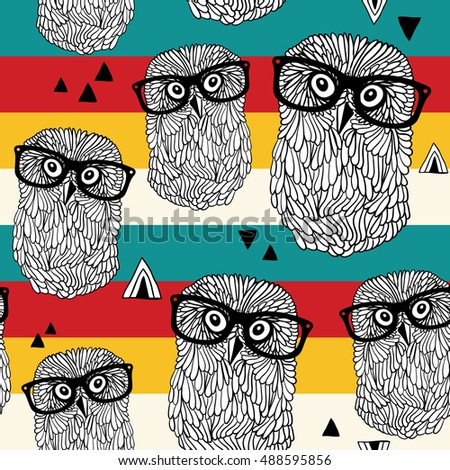 Dancing owls on disco party seamless pattern. Vector illustration with cute birds in retro style.