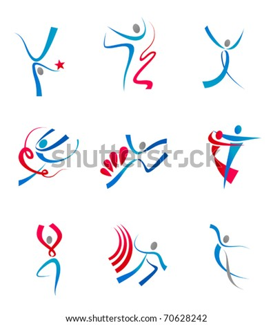 Dancing people and sportsman icons for design - also as emblem. Jpeg version also available in gallery