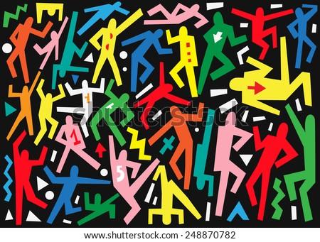 dancing people - doodles set - stock vector