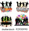 Dancing people -grunge background - stock vector