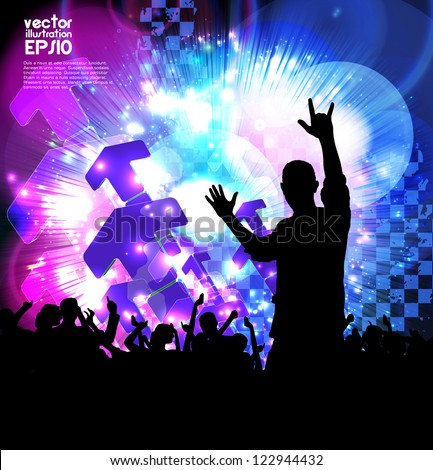 Dancing people. Music poster. Vector