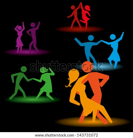 dancing people over black background vector illustration - stock vector